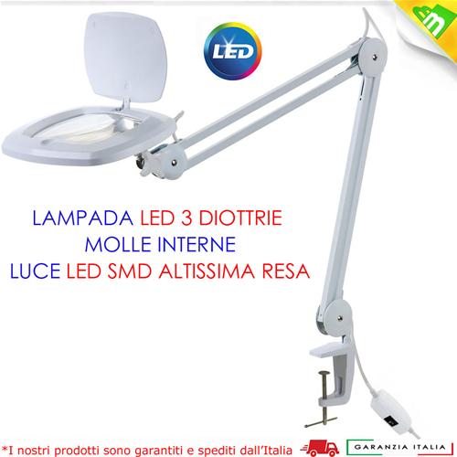 Lampada Da Tavolo Led Con Lente 3 Diottrie E Morsetto A Vite Ebay