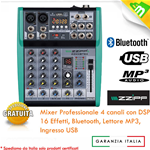 MIXER AUDIO 4 CANALI PROFESSIONALE CON BLUETOOTH USB MP3 - DSP 16 EFFETTI ZZMXBTE4