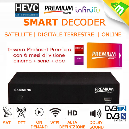 DECODER PREMIUM MEDIASET HD WIFI ON DEMAND INFINITY CAM HD 4K PREMIUM PLAY  + TESSERA PREMIUM 6 MESI DI VISIONE