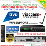 DECODER SATELLITARE HD S2 BWARE HK540GT+WIFI, LEGGE SCHEDE TIVUSAT E TV SVIZZERA
