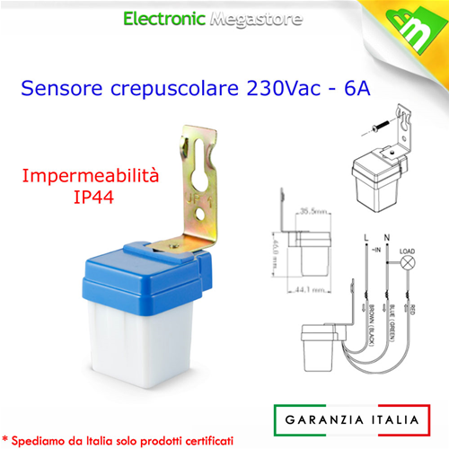 14720 interruttore sensore crepuscolare mini da 6a 220v for Lampade led 220v