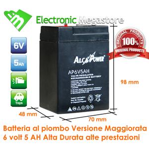 BATTERIA PEG PEREGO RICARICABILE 6 Volt 4,5 Ampere ORIGINALE