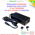 ALIMENTATORE 12V 7A 84W PER STRISCIA LED NOTEBOOK TV LCD CONNETTORE 5,5 X 2,5