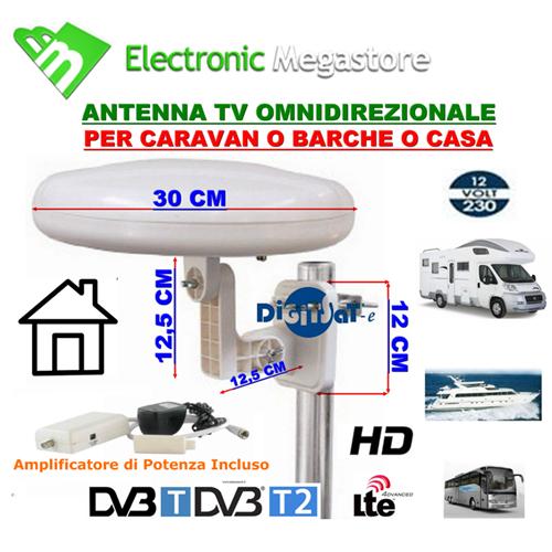15700 antenna tv omnidirezionale amplificata per camper barca camion casa digisat hd. Black Bedroom Furniture Sets. Home Design Ideas