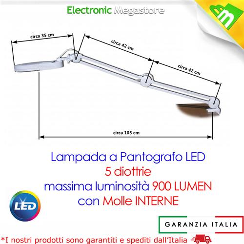 Lampada con lente di ingrandimento a 5 diottrie braccio estensibile 60 led