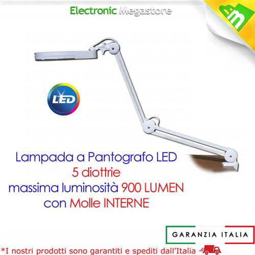 LAMPADA DA LABORATORIO A PANTOGRAFO 60 LED LENTE A 5 DIOTTRIE PROFESSIONALE