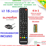 KIT 15 TELECOMANDI UNIVERSALE PROGRAMMABILE 4:1 DA PC PER TV,DECODER ETC..