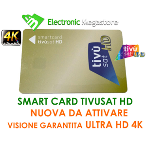 TESSERA TIVUSAT TIVU SAT TIVù TV SD HD SATELLITARE SOLO SMART CARD CI SMARTCARD