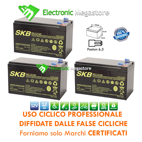 KIT BATTERIA AL PIOMBO 12V 12AH RICARICABILE CICLICA CARRELLI GOLF CARS GP ORIGI