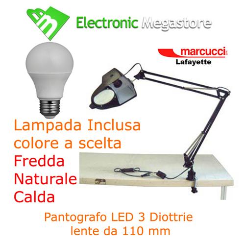 Lente dingrandimento con lampada LED 3 diottrie