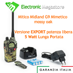 RICETRASMETTITORE MIDLAND G9 WATERPROOF MIMETICA DUAL BAND PMR LPD VER EXPORT 5W G9 PLUS